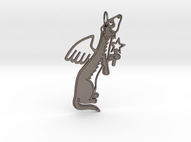 FERRET ANGEL KEYCHAIN SIDEWAYS in Polished Bronzed Silver Steel