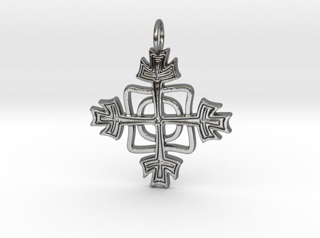 Kreuzchen modern verdreht in Polished Silver