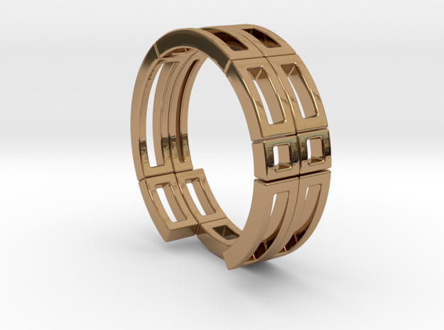 Geometri-k ring Size T in Polished Brass