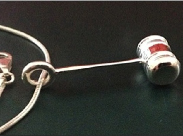 Gavel Pendant in Fine Detail Polished Silver