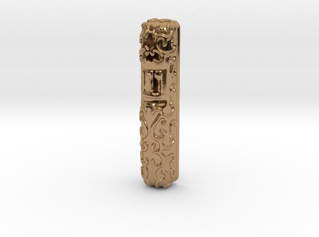 Mezuzah Case, Scrollwork A in Polished Brass