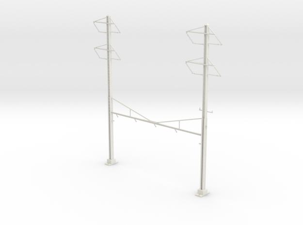 PRR CATENARY HO SCALE 4TRK CURVED STEADY 2-2 PH in White Natural Versatile Plastic