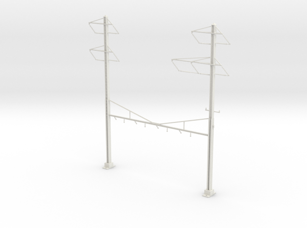 HO Scale PRR K Braced 4 Track Y BRACKET 2-3PH in White Natural Versatile Plastic