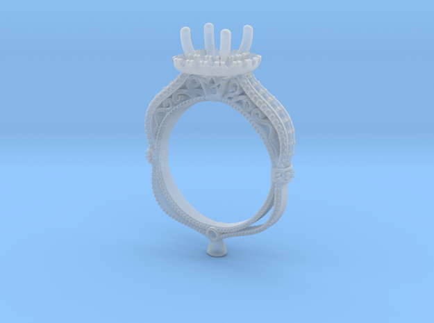 CD274- Fashion Engagement Ring Printed Wax in Frosted Extreme Detail