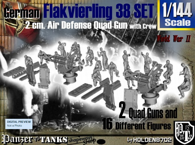 1-144 Flakvierling 38 Set 1 in Frosted Ultra Detail