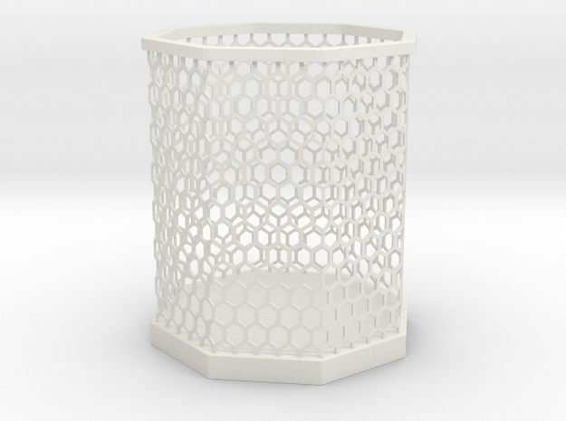 Hexa Pen stand in White Natural Versatile Plastic