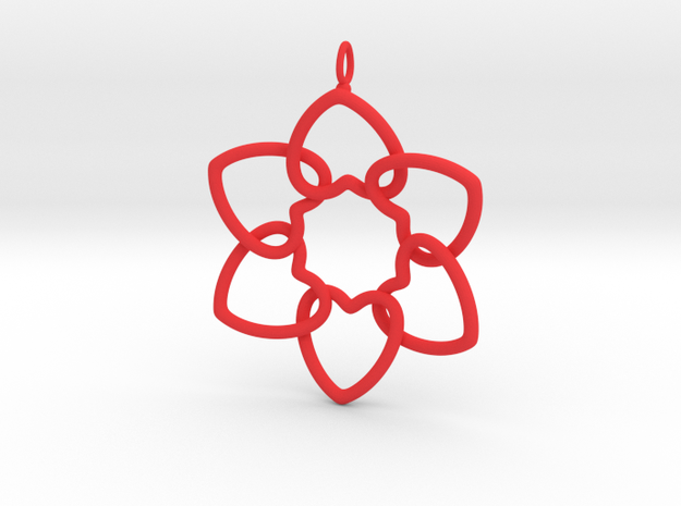Heart Petals 6 Points - 5cm - wLoopet in Red Processed Versatile Plastic