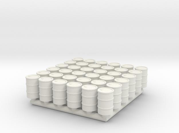 Barrel 01. N Scale (1:160) in White Natural Versatile Plastic