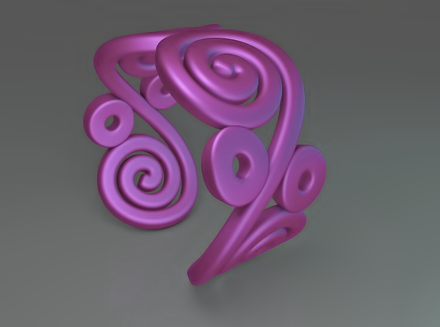 2 Spirals and ovals ring 3d printed 2 Spirals and ovals ring (Purple)