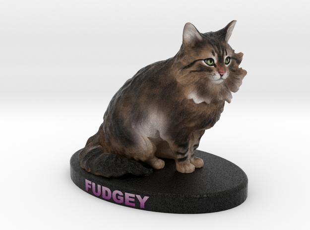 Custom Cat Figurine - Fudgey in Full Color Sandstone