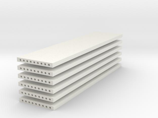 'N Scale' - (6) Precast Panel - 40'x10'x1' in White Natural Versatile Plastic