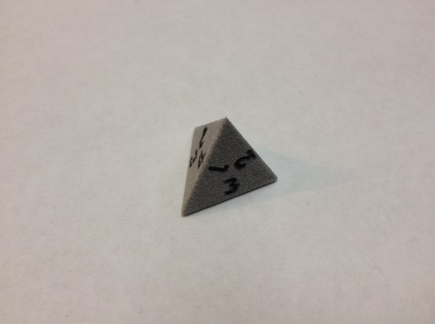 4-sided die (d4) 3d printed Alumide