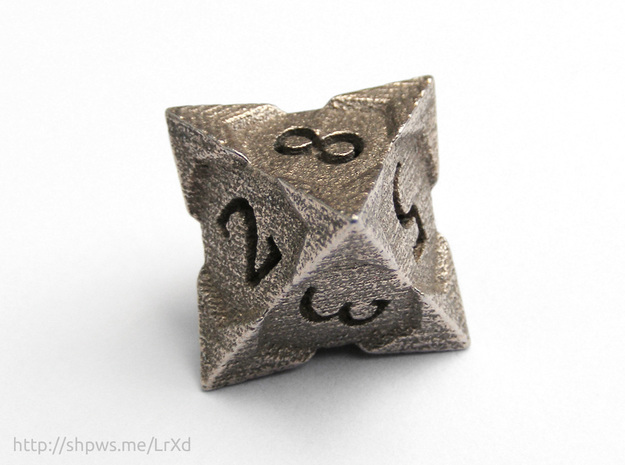 'Starry' D8 balanced die in Stainless Steel