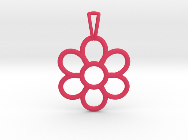 Share Your Smile With Me Sunflower Pendant (Small) in Pink Processed Versatile Plastic