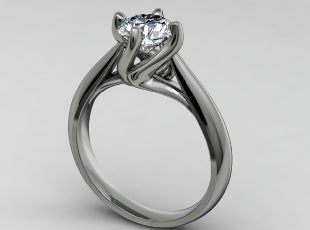 CA6 - Engagement Ring Twisted Style 3D Printed Wax in Frosted Ultra Detail