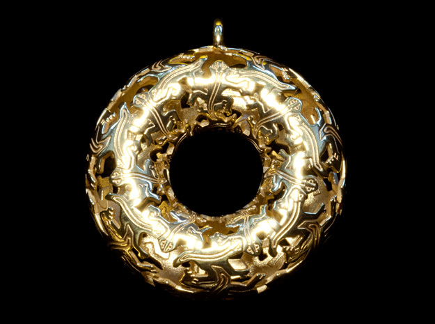 Reptiles Large Pendant - 2.5 Inch. in 18k Gold Plated Brass