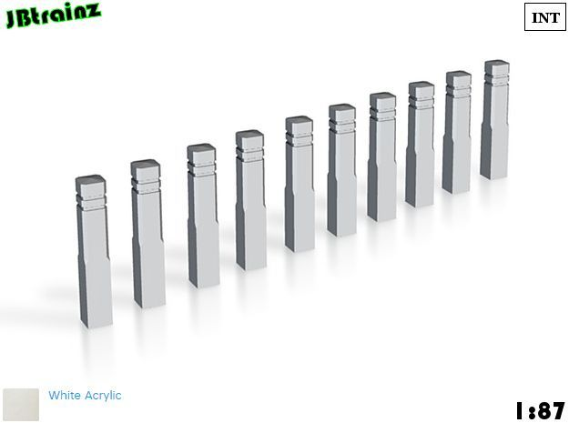 10 Sidewalk poles (1:87) in White Acrylic