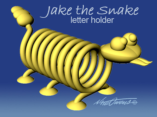 Jake the Snake letter holder 3d printed