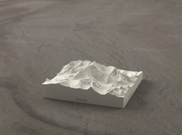 3''/7.5cm Mt. Everest, China/Tibet, Sandstone 3d printed Radiance rendering of new version of Everest massif model from the North