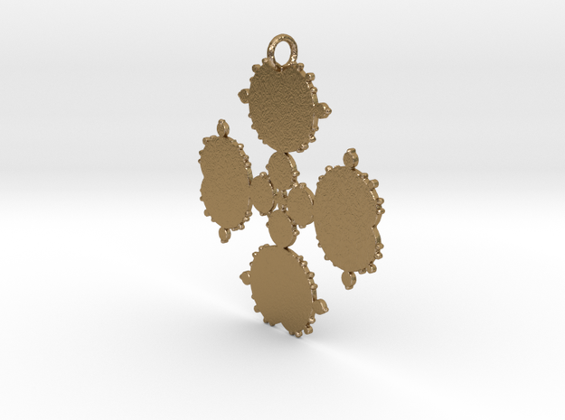 Mandelbrot Flake Pendant in Polished Gold Steel