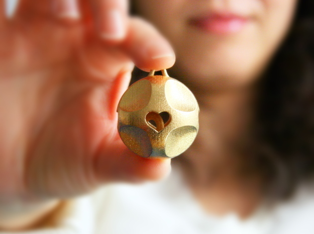 Ornament for Lovers with Hearts inside in Polished Gold Steel: Medium