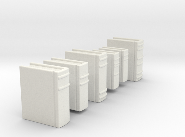 Books for 1/2 inch scale (1:24) settings. in White Natural Versatile Plastic
