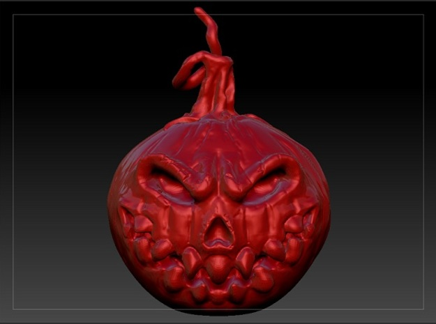 Pumpkin Head v1 3d printed Red model rendering with dim light (simulated ceramics)