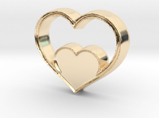 Two Hearts in One Pendant - Amour Collection in 14k Gold Plated Brass