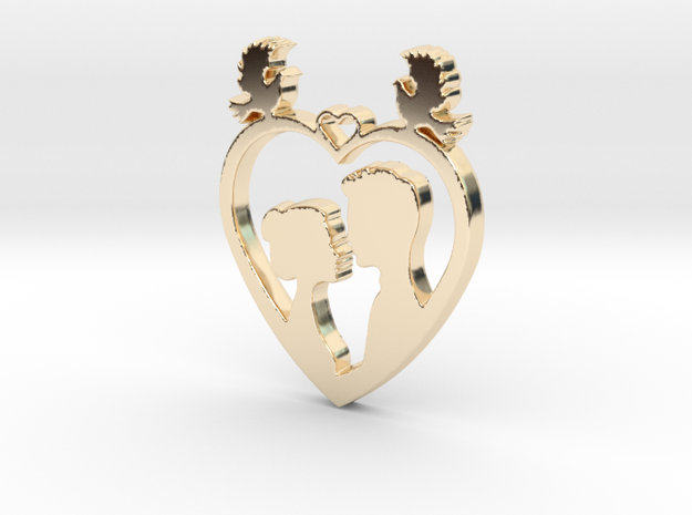 Two in a Heart with Doves V1 Pendant - Amour in 14k Gold Plated Brass