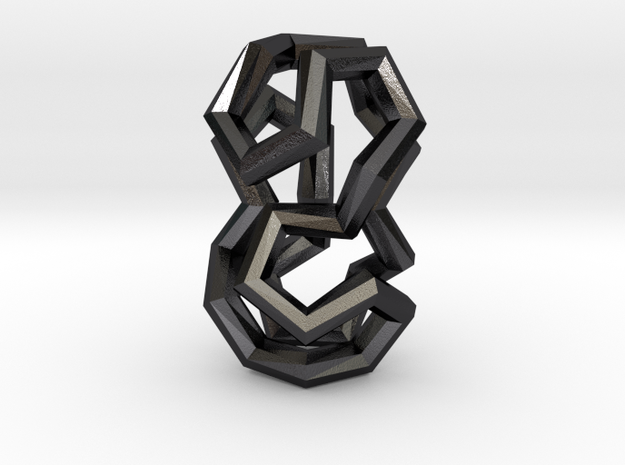 Stacked Dodecahedra Pendant in Polished and Bronzed Black Steel