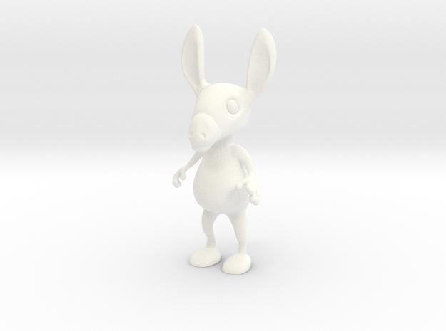 Tiny Donkey in White Processed Versatile Plastic