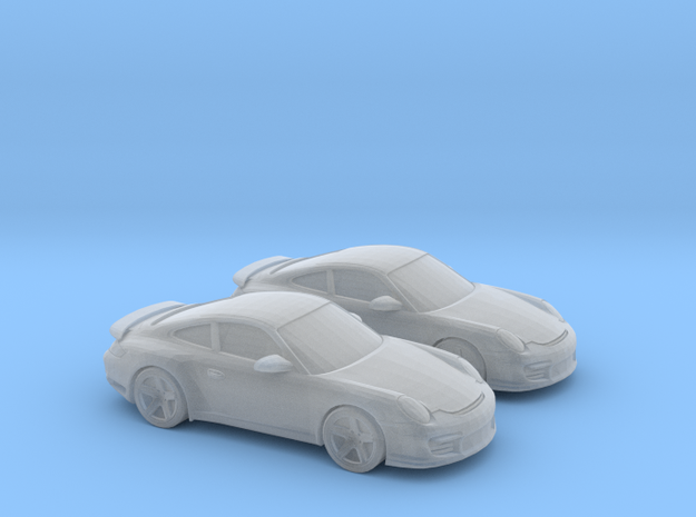 1/128 2X 2010 Porsche 911 GT2 in Smooth Fine Detail Plastic