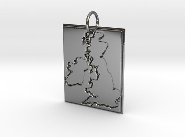 United Kingdom Silhouette Pendant  in Premium Silver