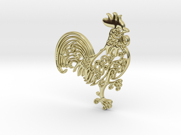 Rooster_Pendant in 18k Gold Plated Brass