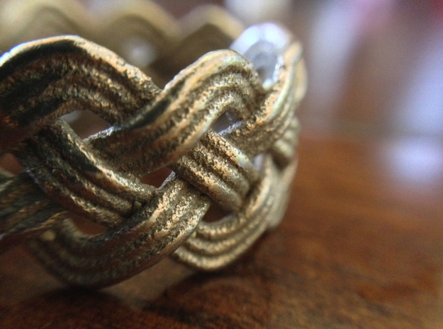 Turk's Head Knot Ring 4 Part X 10 Bight - Size 10 in Polished Bronzed Silver Steel