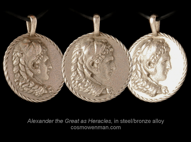 Steel Alexander the Great coin pendant in Polished Bronzed Silver Steel