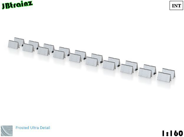 20 Road Barriers (1:160) in Smooth Fine Detail Plastic
