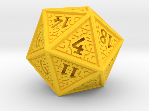 Hedron D20 (Solid), balanced gaming die in Yellow Processed Versatile Plastic