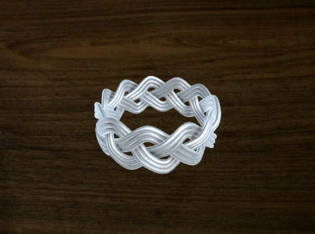 Turk's Head Knot Ring 3 Part X 11 Bight - Size 11. 3d printed