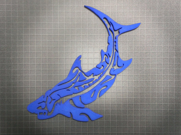 Tribal Shark 3d printed Royal Blue Strong & Flexible