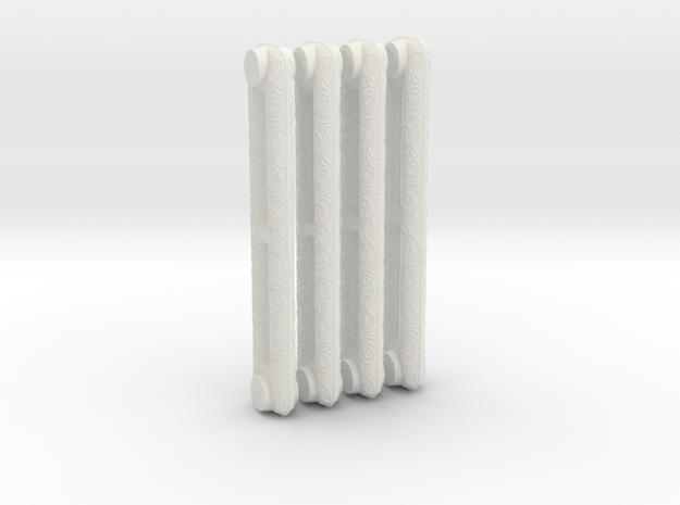 1:6 Decorative Radiator Parts - Middle Four Count in White Natural Versatile Plastic
