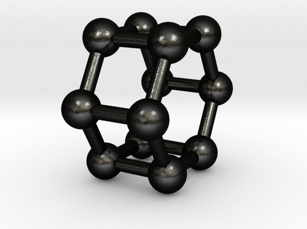 0423 Hexagonal Prism (a=1cm) #003 in Matte Black Steel