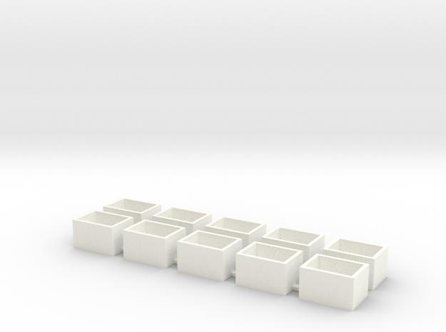 10 Pack Speaker Box Closed - 15mm x 11mm x 9mm  in White Processed Versatile Plastic