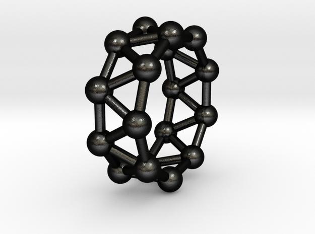 0426 Nonagonal Antiprism (a=1cm) #003 in Matte Black Steel
