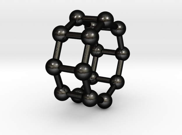 0432 Octagonal Antiprism (a=1сm) #003 in Matte Black Steel