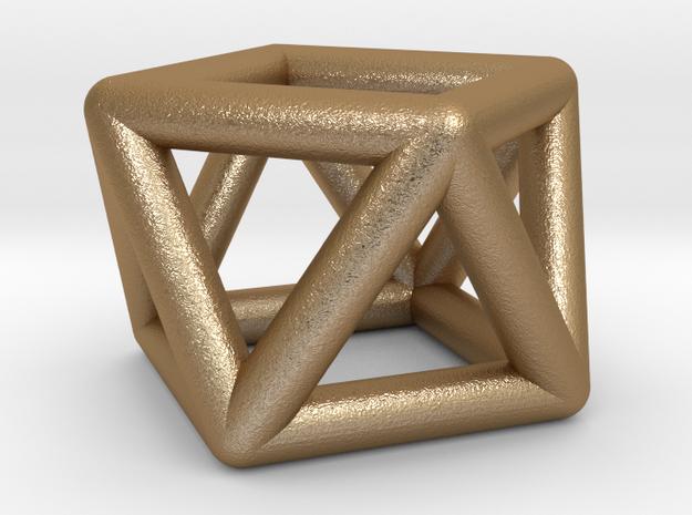 0442 Square Antiprism (a=1cm) #001 in Matte Gold Steel