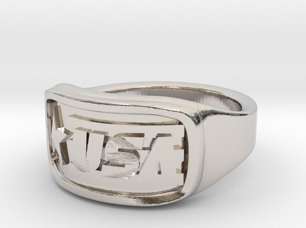 Ring USA 53mm in Rhodium Plated Brass