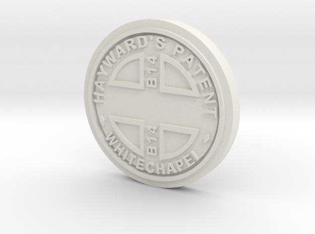 28mm/32mm Custom 'Whitechapel' Manhole Cover  in White Natural Versatile Plastic