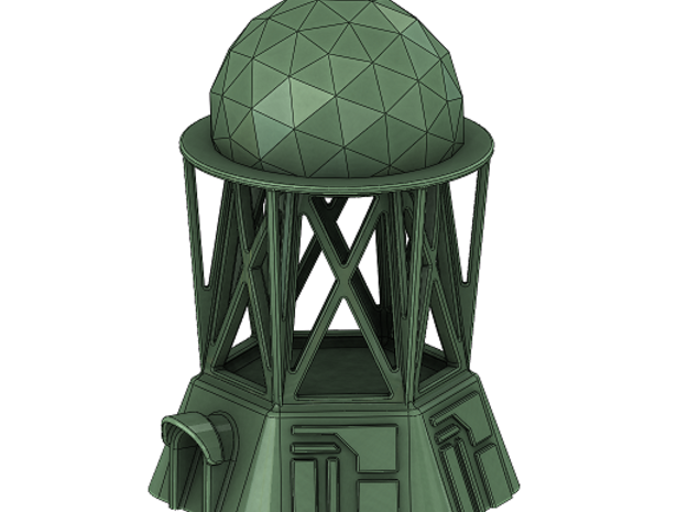 Radar Control Tower (Large Dome) in White Strong & Flexible