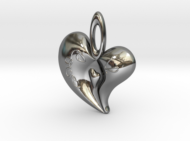 Heart Pendant1 in Fine Detail Polished Silver